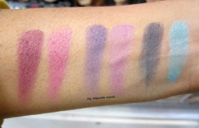 L-R: pink wink,purple haze and blue shadow