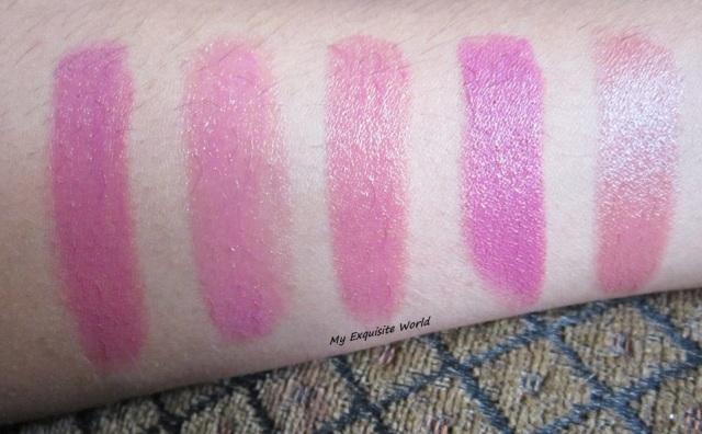 L-R: Revlon Mauve,Bourjois rose xoxo,Loreal Mauve Cherie,Wet n wild mauve outta here,Oriflame Pink Nude