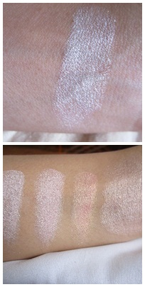 swatches: Left: Goddess of Love Right: Iced Heart